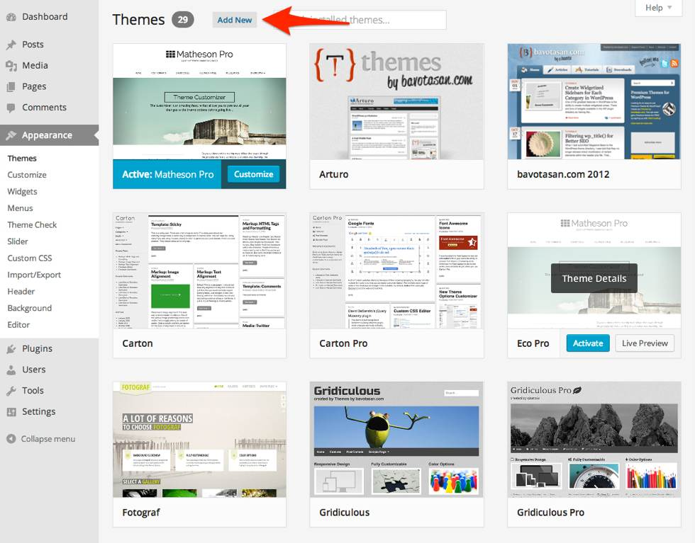 Add New theme in WordPress 3.8